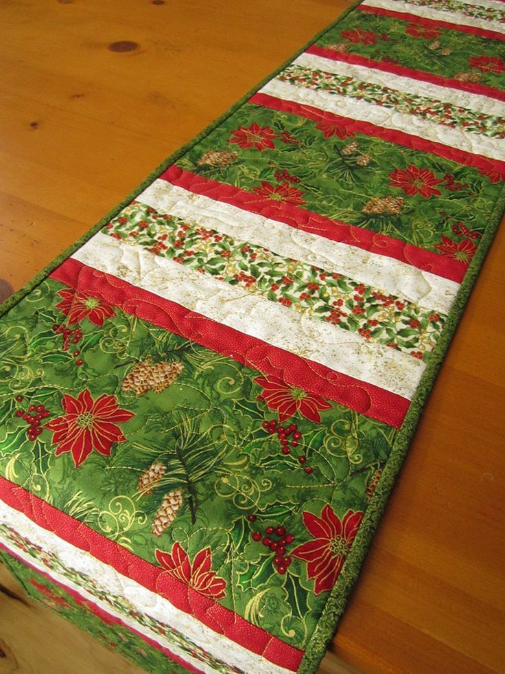 Handmade Christmas Table Runner Quilted Stripes | Christmas ... : quilted table linens - Adamdwight.com