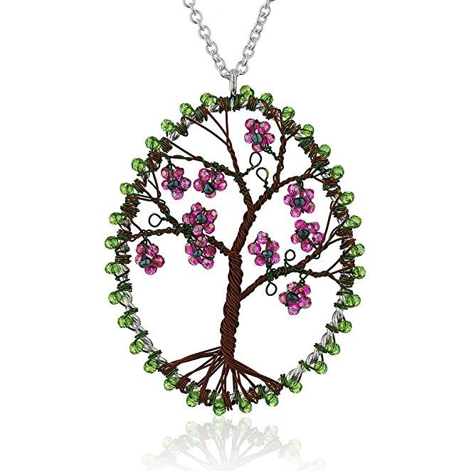 Silver-Plated Brass Copper Trunk Eternal Tree of Life Glass Flower Long Pendant Necklace, 30 inches