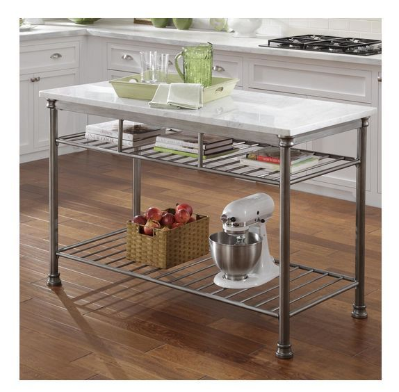 Prep Table Station Food Cart Stainless Steel Marble Top Kitchen Island Storage Kitchen Island Storage Kitchen Prep Table Marble Top Kitchen Island