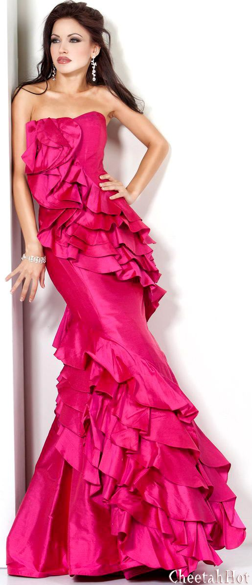 JOVANI - Tiered Ruffle Gown | Fashion | Pinterest | Fucsia, Vestidos ...
