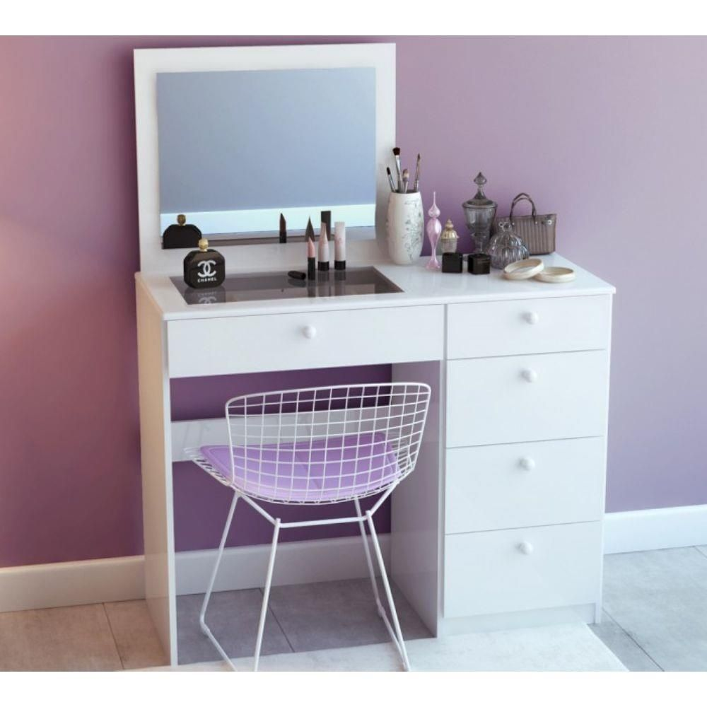 vanity desk no mirror. Explore Small Vanity Table  White Mirror and more Penteadeira Milla com Espelho Branco Mobile