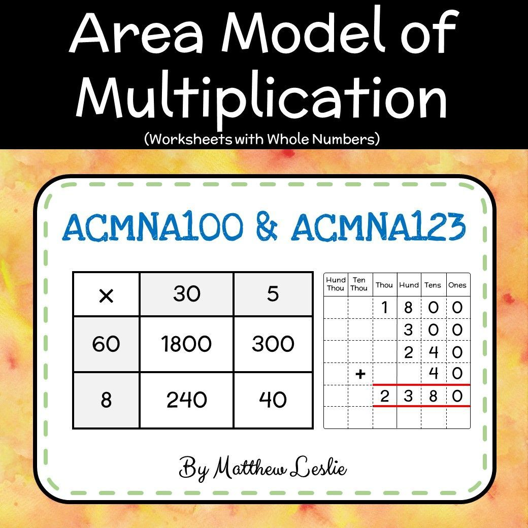 Area Model Of Multiplication Worksheets With Whole