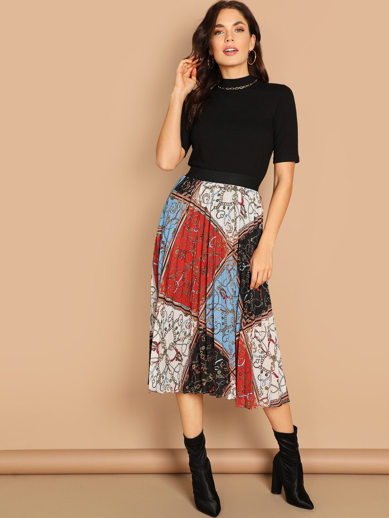de18a76525 Elegant A Line and Pleated Pleated Shift Mid Waist Multicolor Long/Full  Length Scarf Print Pleated Skirt