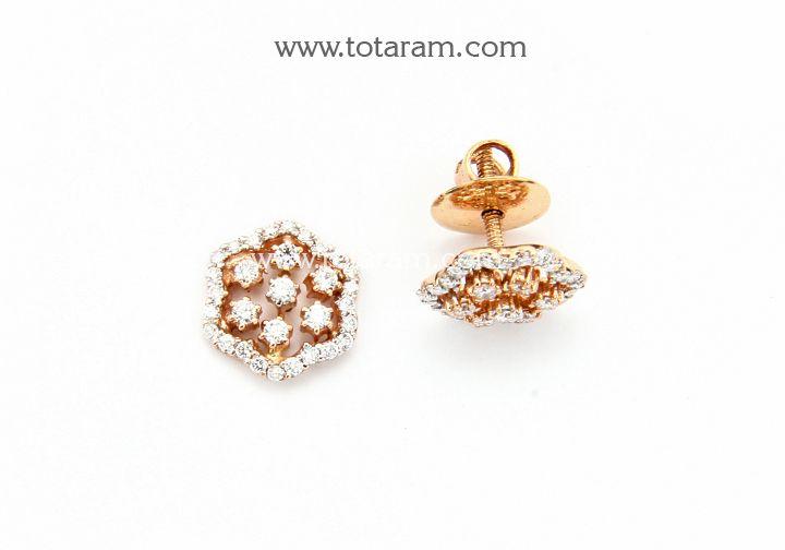 18K Rose Gold Polish Diamond Earrings Indian Diamond Earrings
