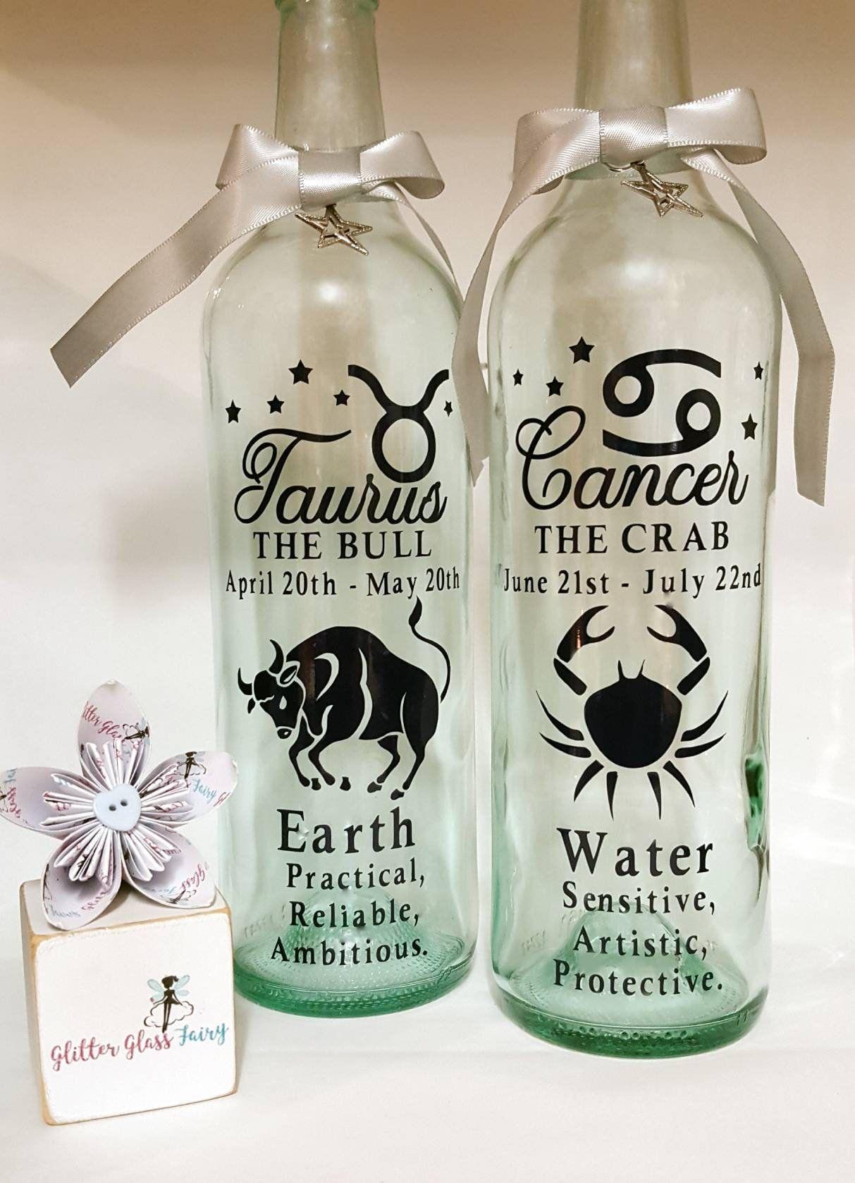 Zodiac Star Sign Led Light Bottle / Birthday / Gift