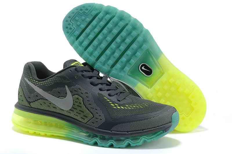 Air Max 2014 Maschi in esecuzione profondo grigio verde fluorescente · Men  Running ShoesMens RunningNike ...