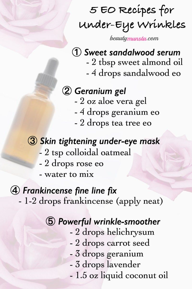 How To Use Essential Oils For Under Eye Wrinkles 5 Diy Recipes Beautymunsta Free Natural Beauty Hacks And More Under Eye Wrinkles Oils For Skin Eye Wrinkle