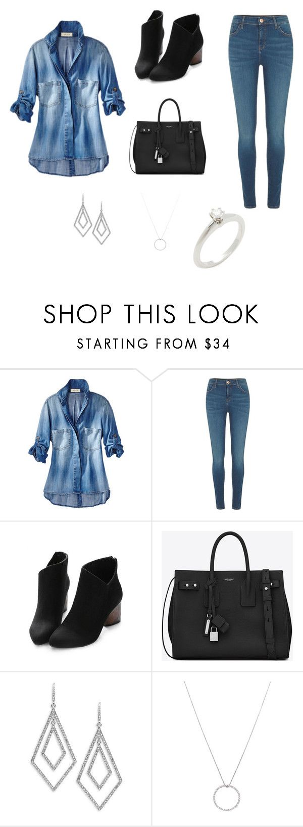 """""""#trabalho"""" by alicevaugusto ❤ liked on Polyvore featuring River Island, Yves Saint Laurent, ABS by Allen Schwartz, Roberto Coin and Tiffany & Co."""