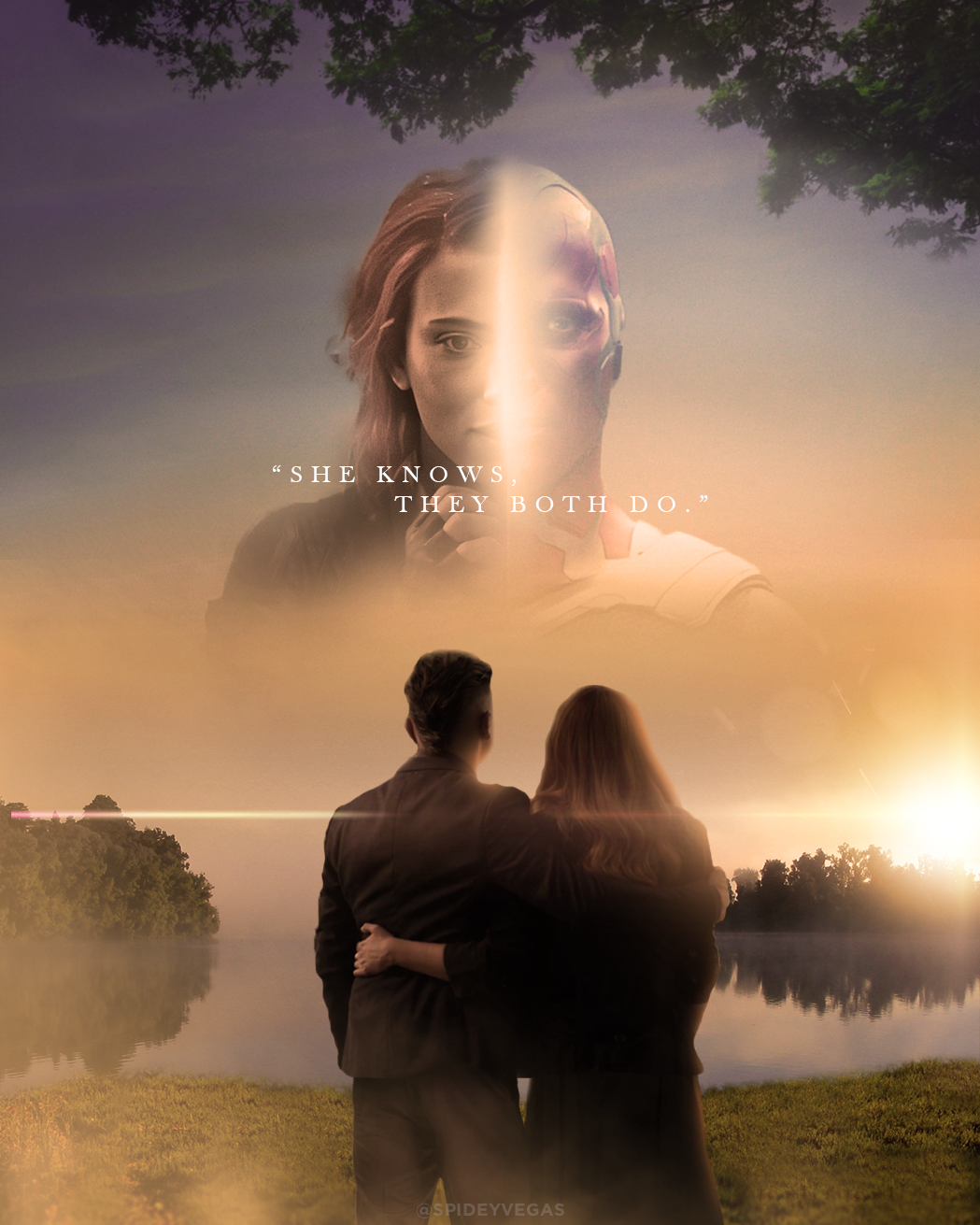 "Clint and Wanda's lakeside scene from ""Avengers: Endgame"" 