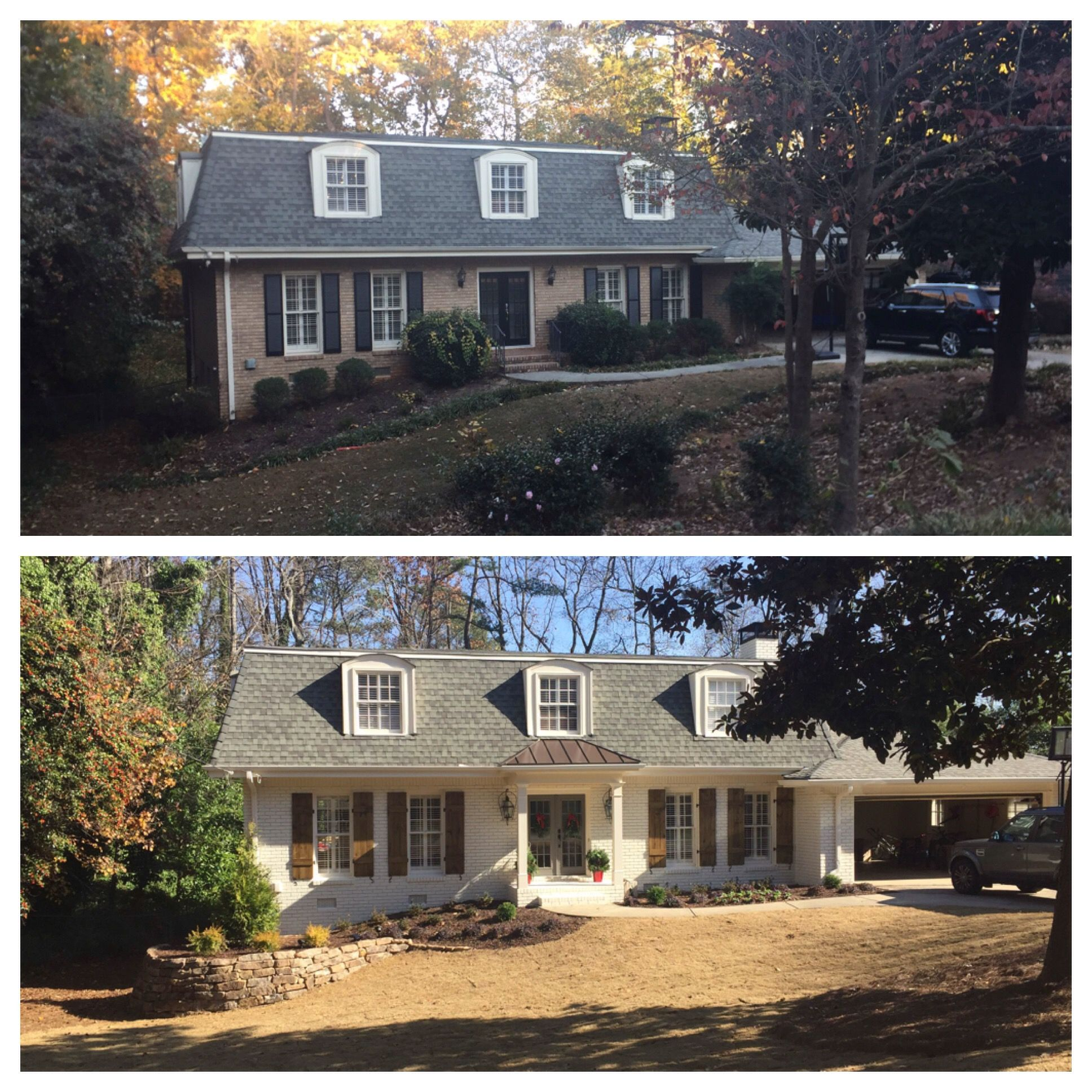 Before and after exterior transformation painted brick and diy board and batten stained shutters brick color sail cloth