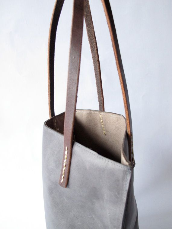 Bluegrey Small Handmade Leather Tote By Amykreiling On Etsy