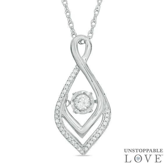 Zales Unstoppable Love 1/10 CT. T.w. Diamond Infinity Flame Pendant in Sterling Silver UhNqyMBj