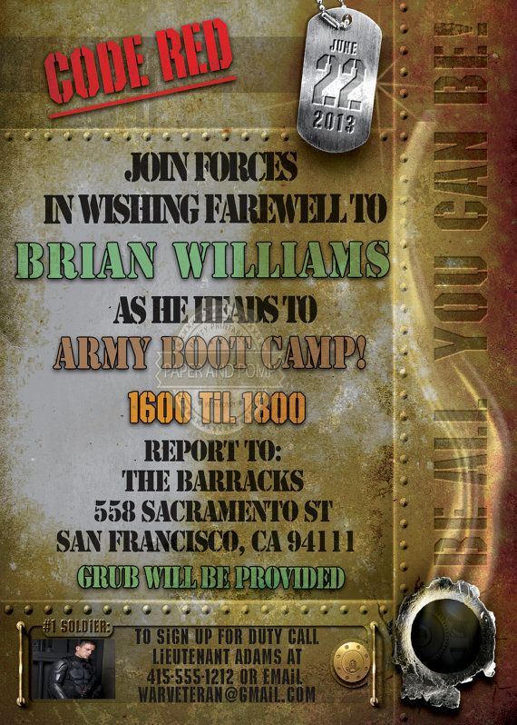 Military Invitation Army Marines Military Going Away Farewell – Military Party Invitations