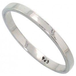 Sterling Silver 2.2 mm Flat Wedding Band Thumb Ring.