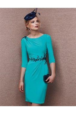 a327244001 Sheath Bateau Neck Short Turquoise Chiffon Black Applique Evening Dress  With Sleeves
