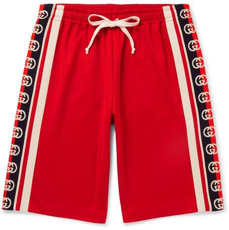 Webbing Trimmed Tech Jersey Shorts Jersey Shorts Gucci Running Fashion