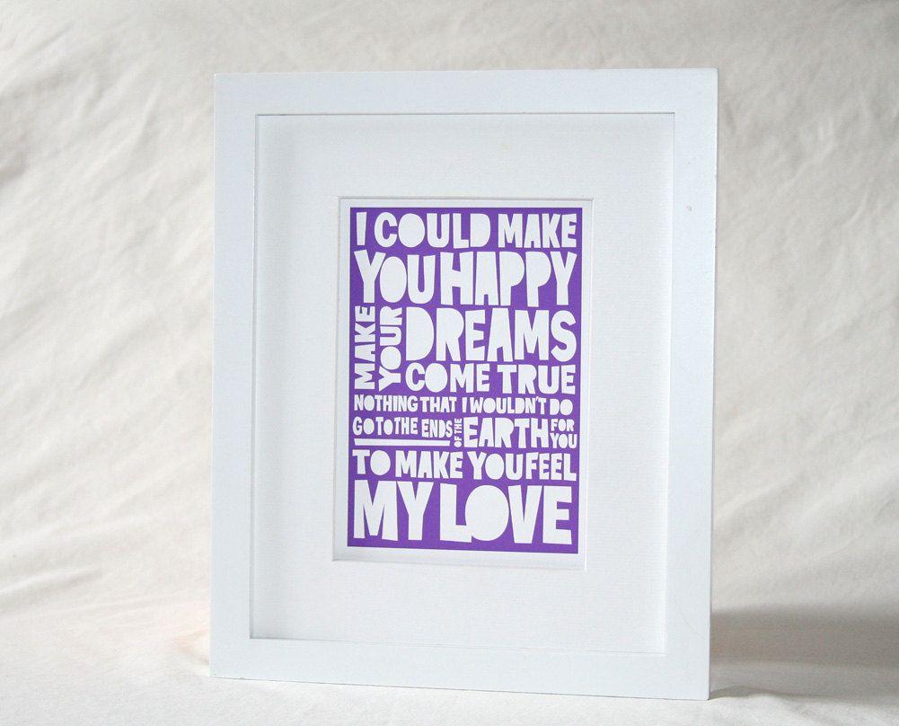 8x10 Adele Bob Dylan LOVE Lyric MAKE You FEEL My Love Wedding Song Print Raw Art