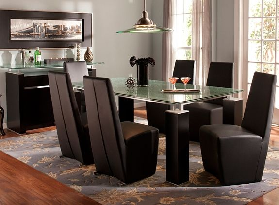 Ritz 7 Pc Glass Dining Set Glass Dining Set Furniture Dining