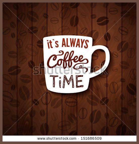 It is always coffee time Poster with coffee cups on a wooden background Cutout paper style Vector image
