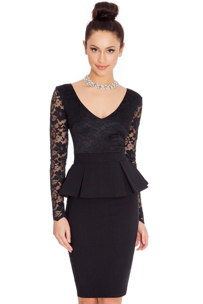 583dbbb877f NEM065 Long sleeve peplum dress Deep V neck sexy lace dress plus ...