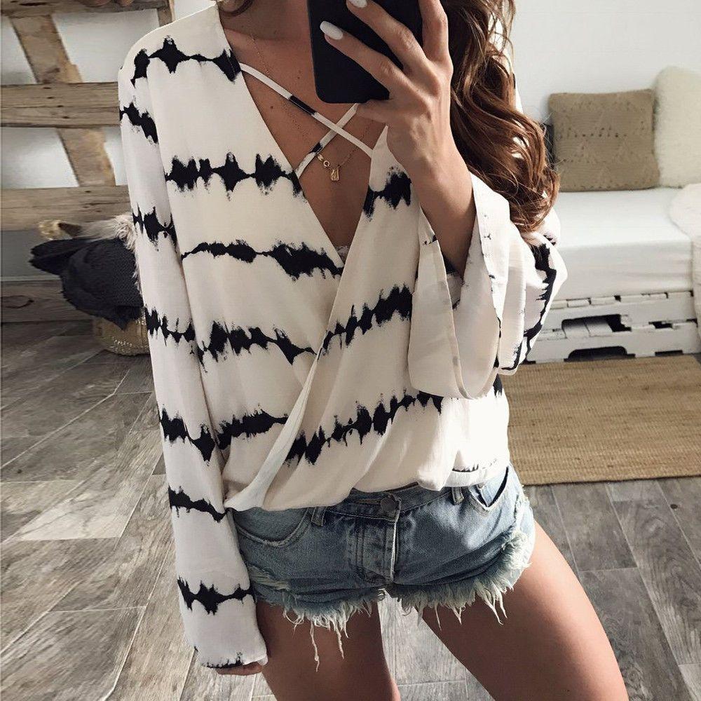 e7c6ec956ebed  8.81 - Women Loose Long Sleeve Tops Printed Chiffon Casual Blouse Cross  Loose Shirts  ebay  Fashion