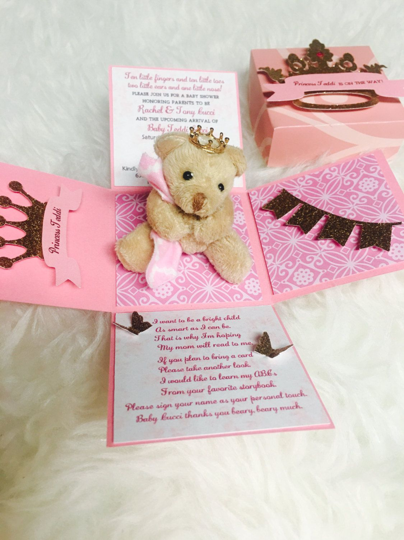 Girl baby shower invitation. Princess theme invitation. Teddy bear ...