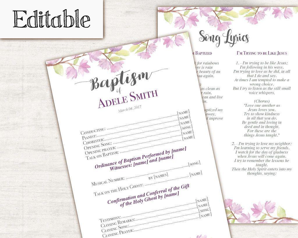 INSTANT DOWNLOAD Editable LDS Baptism Program Printable | brooklyns ...