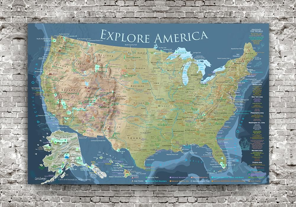 Us National Parks Wall Map USA National Parks Map   Incredible Room decor   Wall Art for