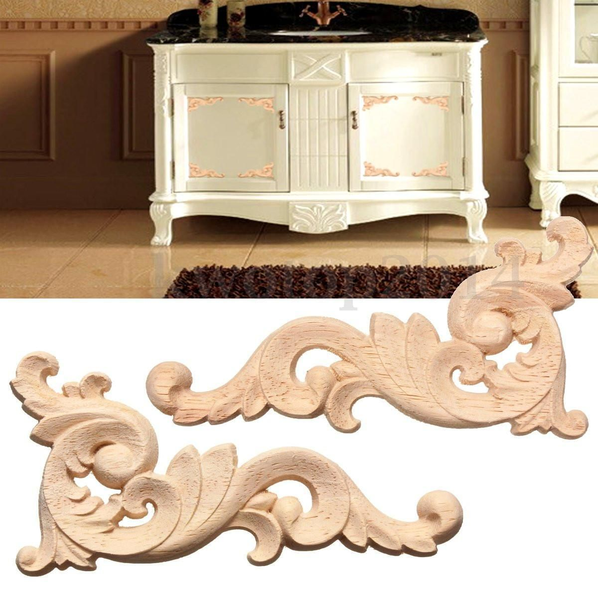 Wood Carved Decal Corner Onlay Applique Frame Door Wall Decor 126cm Unpainted Furniture Decor Decor Frames On Wall