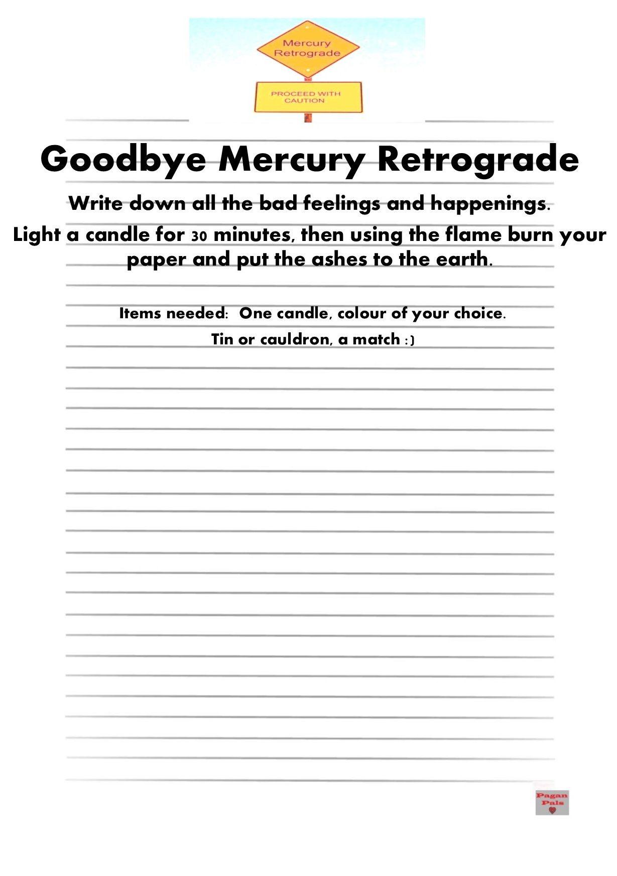 Goodbye Mercury Retrograde Worksheet Ritual Amp Spells