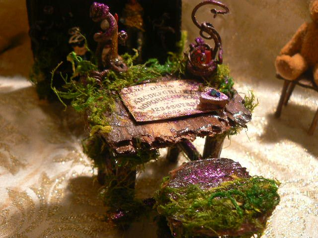 Dark fairies play with the Ouija Board, handmade from fallen bark, for sale on etsy at Enchanted Fairy Dreams