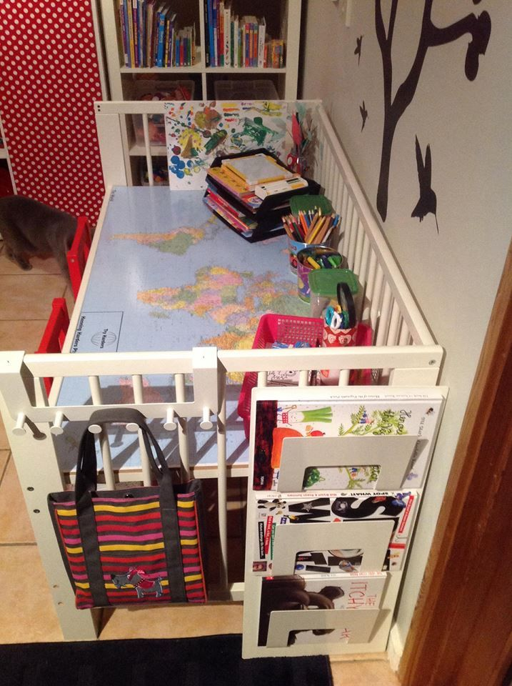 Kids Art Craft Homework Table From Ikea Gulliver Cot Ikea Hackers In 2020 Ikea Crib Cribs Repurpose Ikea Kids