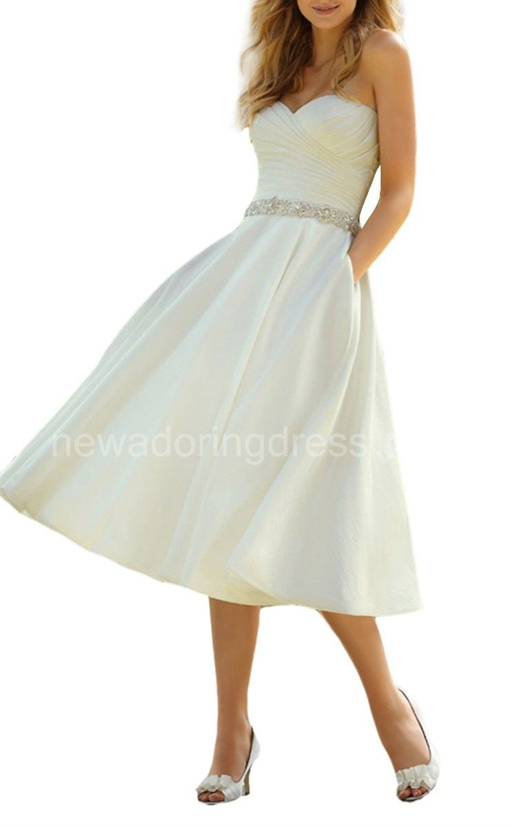 High low wedding dresses cheap  Delicate TeaLength Wedding Dress with Ruching  Wedding Dresses