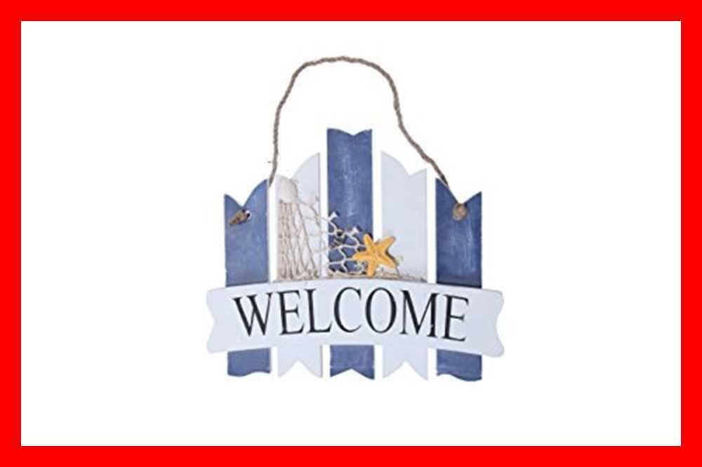 Welcome Sign Board Home Inside Outside Decoration Beach Gree