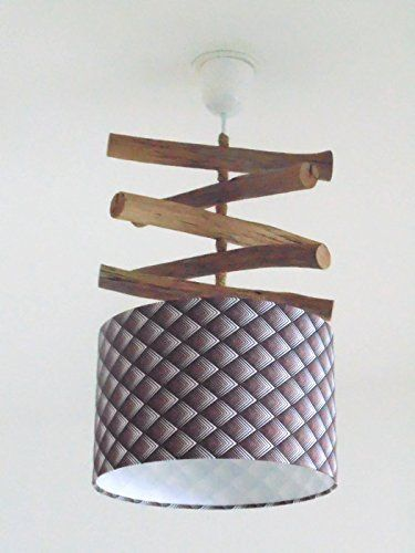 lustre bois flott abat jour cylindre 28 cm motif losanges g om trique marron suspension. Black Bedroom Furniture Sets. Home Design Ideas