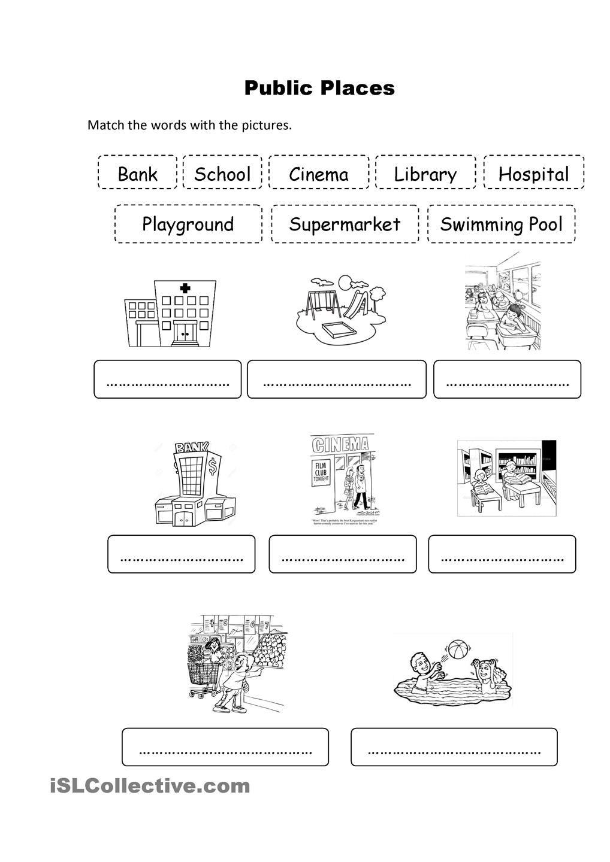 public places places worksheets for kids worksheets. Black Bedroom Furniture Sets. Home Design Ideas