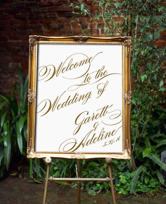 Printable Wedding Welcome Sign Vera  ANY SIZE / COLOR by Dantell
