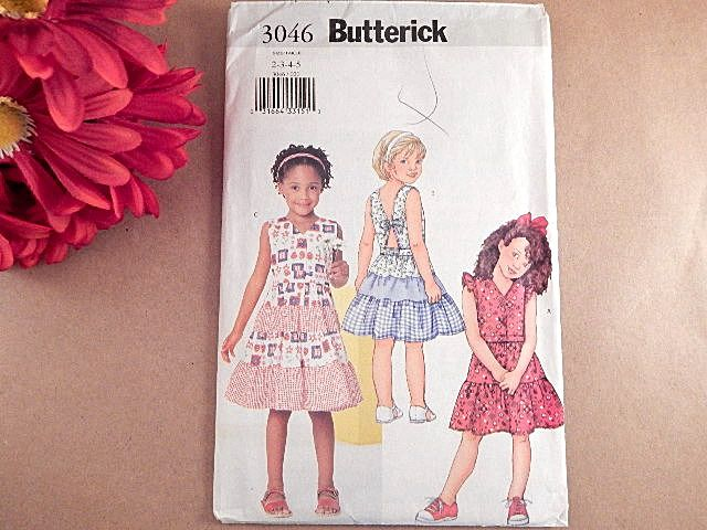 Butterick Sewing Pattern 3046 Girl's Sundress with 3variations Multi-size…