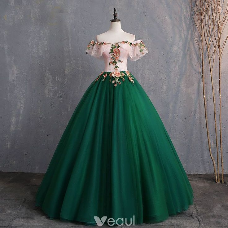 Vintage / Retro Dark Green Prom Dresses 2019 Ball Gown Appliques Lace Off-The-Shoulder Short Sleeve Backless Floor-Length / Long Formal Dresses – Veaul – Ich Folge