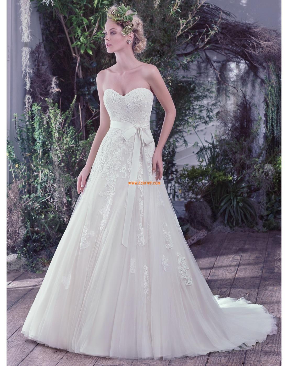 A-linie Herz-ausschnitt Glamouröse Brautkleider aus Tüll mit ...