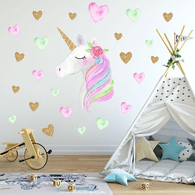 Cartoon Cute Unicorns Star Heart Wall Stickers Wallpaper Diy