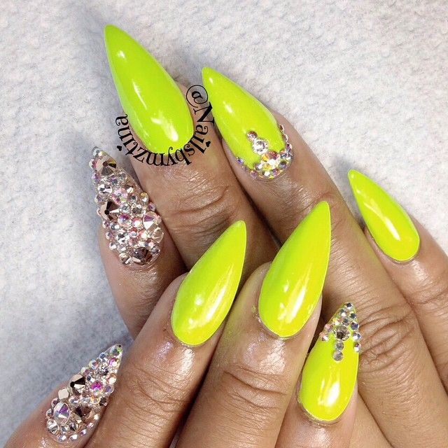 Stiletto Nails Yellow Neon Rhinestones Accent With Images