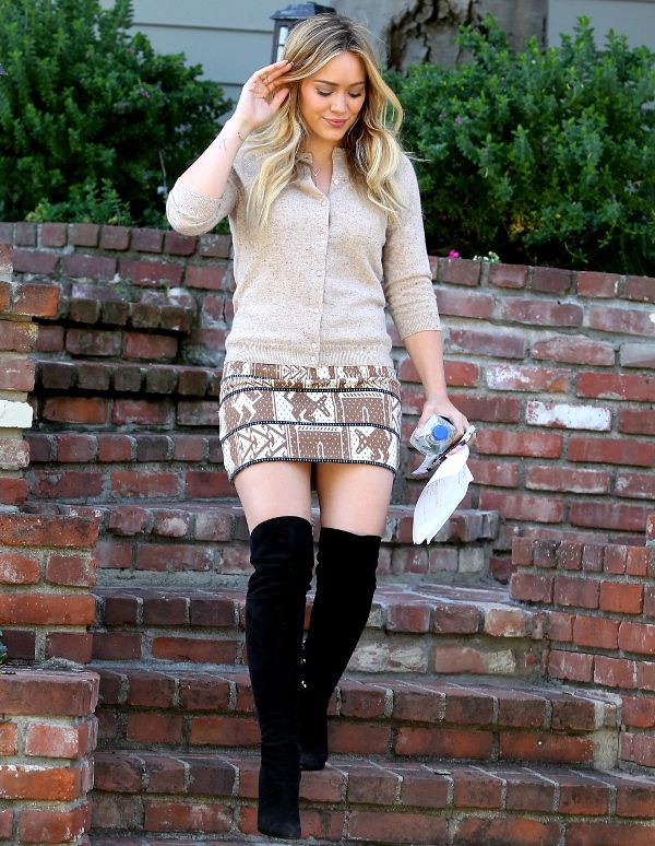 Hilary Duff Wears Thigh High Boots