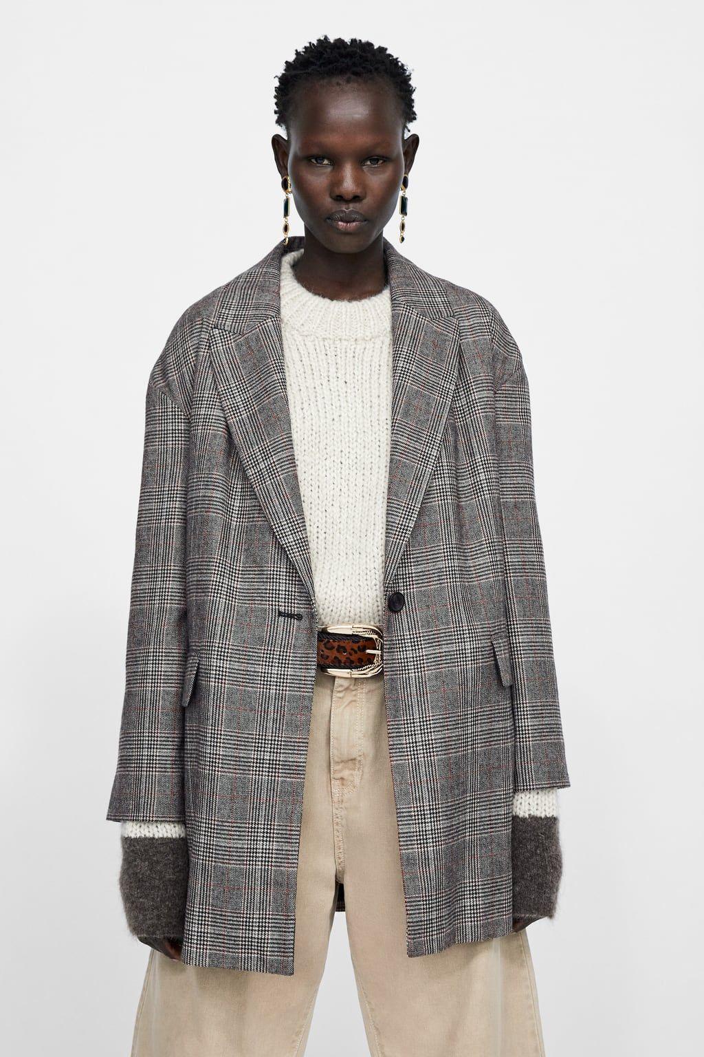 f08264ea Oversized plaid blazer in 2019 | Zara | Plaid blazer, Blazer ...