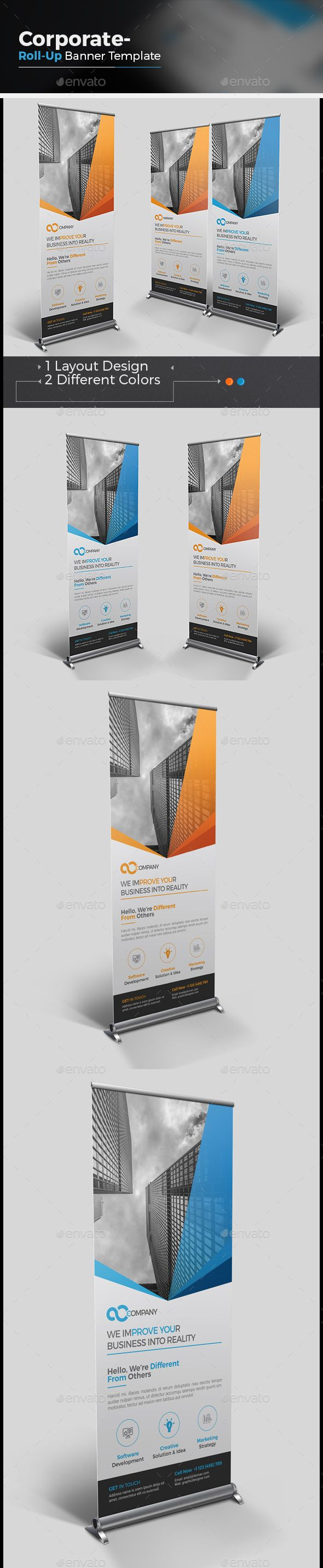 Corporate Roll-up Banner | Rollup banner, Ai illustrator and Banner ...