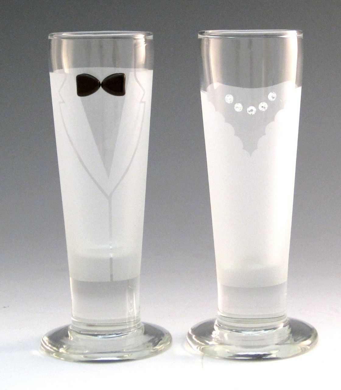Totally Awesome Goods - Hand-Decorated Shot Glasses, Bride and Groom, $22.00 (http://www.totallyawesomegoods.com/hand-decorated-shot-glasses-bride-and-groom/)