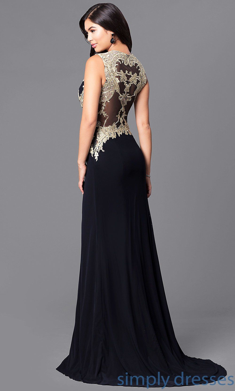 e908fe79dfa Shop long black formal prom dresses at Simply Dresses. Floor-length evening  gowns with gold lace appliques