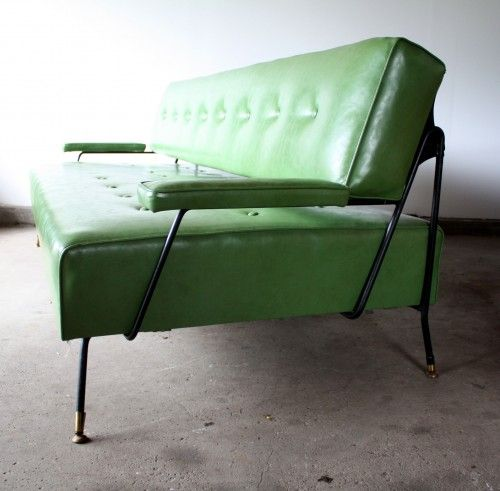 1960s Green Vinyl Sofa Daybed Manly Vintage For