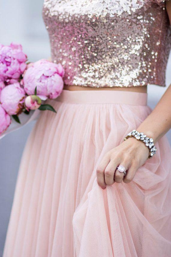 Bridal Separates Top, Sequin blouse, Rose gold sequin Blouse, Sequin top, Bridal separates, Sequin d