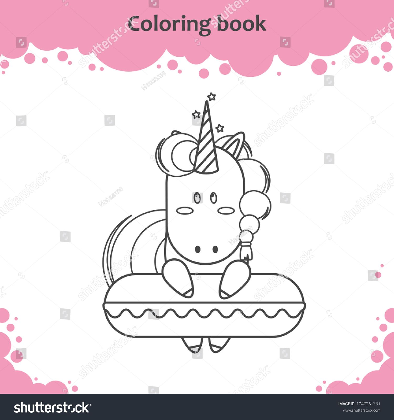 Cute Unicorn With Swimming Circle Coloring Page For Kids Ad Ad Swimming Unicorn Cute Circle Coloring Pages For Kids Cute Unicorn Coloring Pages